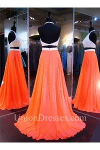 Long Orange Chiffon Pearl Beaded Halter Two Piece Prom Dress