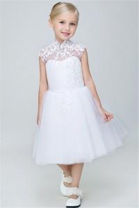 A Line High Neck Cap Sleeve Tea Length Tulle Lace Flower Girl Dress