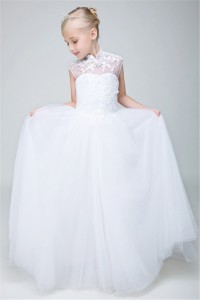 A Line High Neck Cap Sleeve Tulle Lace Flower Girl Dress
