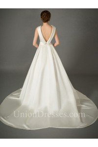 A Line High Neck Collar Low Back Satin Wedding Dress With Bow Sash No Lace