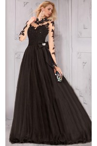 A Line High Neck Collar Open Back Long Sleeve Black Prom Dress With Bow