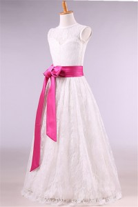 A Line High Neck Lace Flower Girl Dress With Hot Pink Sash