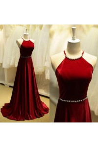 A Line High Neck Long Red Chiffon Prom Dress Beading Belt