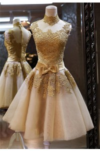 A Line High Neck See Through Gold Tulle Lace Short Prom Dress Bow Sash