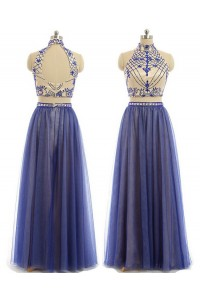 A Line High Neck Two Piece Nude Satin Royal Blue Tulle Beaded Prom Dress