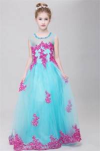 A Line Illusion Neckline Aqua Tulle Hot Pink Lace Girl Pageant Prom Dress
