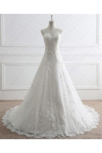 A Line Illusion Neckline Tulle Lace Beaded Pearl Wedding Dress With Buttons
