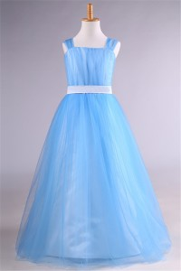 A Line Light Blue Tulle Flower Girl Dress With Sash Straps