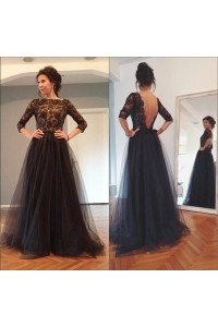 A Line Low Back 3 4 Sleeve Long Black Tulle Lace Beaded Prom Dress