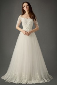 A Line Off The Shoulder Tulle Lace Sleeve Wedding Dress Without Train