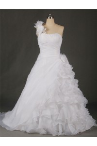 A Line One Shoulder Organza Ruffle Flower Plus Size Wedding Dress