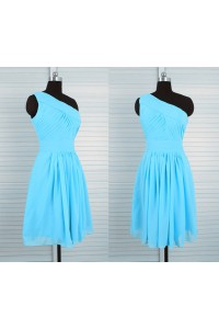A Line One Shoulder Short Blue Chiffon Ruched Party Bridesmaid Dress