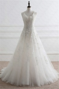 A Line Plunging Neckline Open Back Tulle Lace Beaded Wedding Dress Corset Back