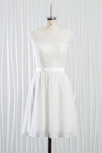 A Line Round Neck V Back Short Lace Chiffon Beach Wedding Dress With Sash