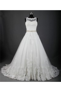 A Line Scalloped Neck Sheer Back Tulle Lace Wedding Dress With Crystals Sash