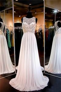 A Line Scoop Neck Empire Waist Keyhole Back Long White Chiffon Beaded Prom Dress