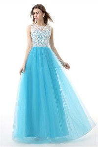 A Line Scoop Neck Long Sky Blue Tulle White Lace Prom Dress
