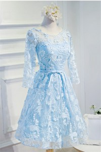 A Line Scoop Neck Open Back Light Blue Lace Prom Bridesmaid Dress With Sleeves
