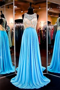 A Line Scoop Neck Open Back Long Turquoise Chiffon Beaded Prom Dress