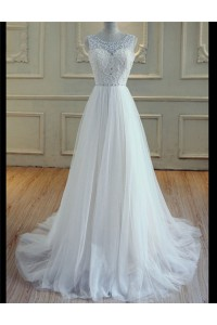 A Line Scoop Neck Open Back Tulle Beaded Wedding Dress With Pearls