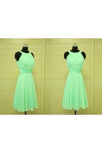 A Line Scoop Neck Short Mint Green Chiffon Party Bridesmaid Dress With Sash