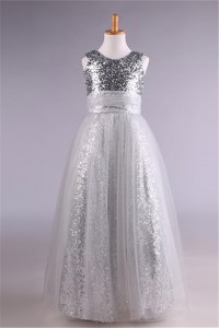 A Line Scoop Neck Silver Sequin Tulle Girl Party Prom Dress
