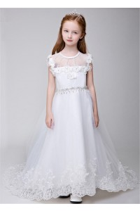 A Line Scoop Neck Tulle Lace Pearl Beaded Flower Girl Dress With Train