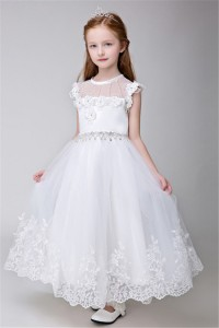 A Line Scoop Neck Tulle Lace Pearl Beaded Flower Girl Dress