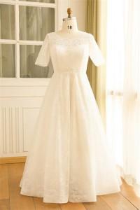 A Line Short Sleeve Corset Back Lace Plus Size Wedding Dress No Train