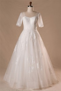 A Line Short Sleeve Floor Length Corset Back Lace Wedding Dress Without Train