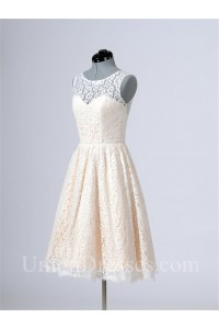 A Line Sleeveless Short Cream Lace Bridesmaid Prom Dress With Buttons