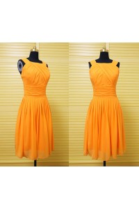 A Line Square Neck Short Orange Chiffon Wedding Party Bridesmaid Dress