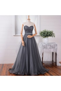 A Line Strapless Charcoal Gray Tulle Ruched Prom Dress With Sash