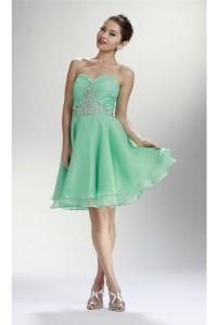 a line strapless corset short mint green chiffon