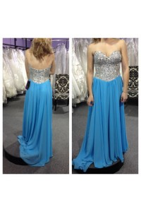 A Line Strapless Long Blue Chiffon Sequin Beaded Prom Dress