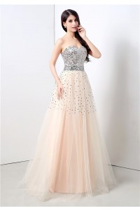 A Line Strapless Long Peach Tulle Silver Sequined Prom Dress Lace Up Back