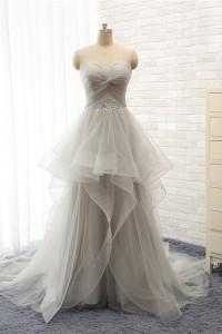 A Line Strapless Long Silver Tulle Ruffle Beaded Prom Dress Corset Back