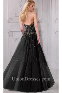 a line strapless sweetheart black tulle rhinestone beaded