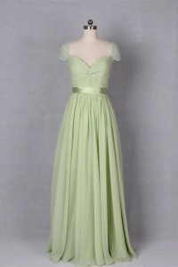 A Line Sweetheart Cap Sleeve Long Sage Chiffon Evening Prom Dress With Sash