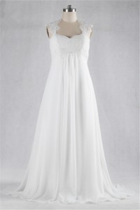 A Line Sweetheart Empire Waist Keyhole Back Lace Chiffon Beach Pregnant Wedding Dress