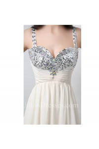 A Line Sweetheart Empire Waist Long Ivory Chiffon Beaded Prom Dress With Straps
