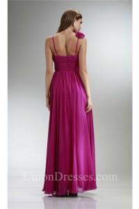 A Line Sweetheart Flower Strap Long Fuchsia Chiffon Ruched Bridesmaid Dress
