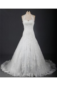 A Line Sweetheart Halter Lace Beaded Wedding Dress Corset Back