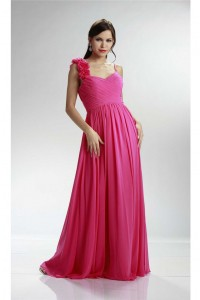 A Line Sweetheart Long Hot Pink Chiffon Ruched Bridesmaid Dress Flower Straps