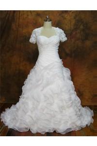 A Line Sweetheart Open Back Organza Ruffle Flower Wedding Dress Short Sleeves