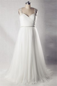 A Line Sweetheart Open Back Tulle Beaded Plus Size Wedding Dress