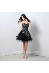 A Line Sweetheart Short Mini Black Tulle Peacock Applique Prom Dress