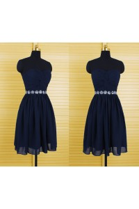 A Line Sweetheart Short Navy Blue Chiffon Beaded Party Prom Dress