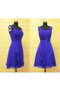 A Line Sweetheart Short Royal Blue Chiffon Party Bridesmaid Dress With Straps