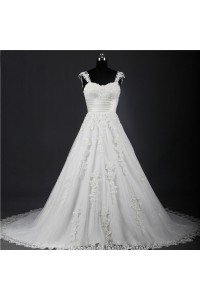 A Line Sweetheart Tulle Lace Applique Wedding Dress With Cap Sleeve Straps